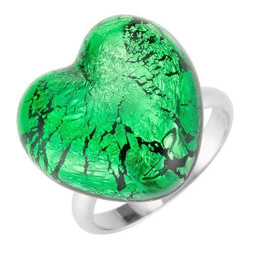 MURANO DI FRANCESCA Ring Muranoglas Herzform Silber 925