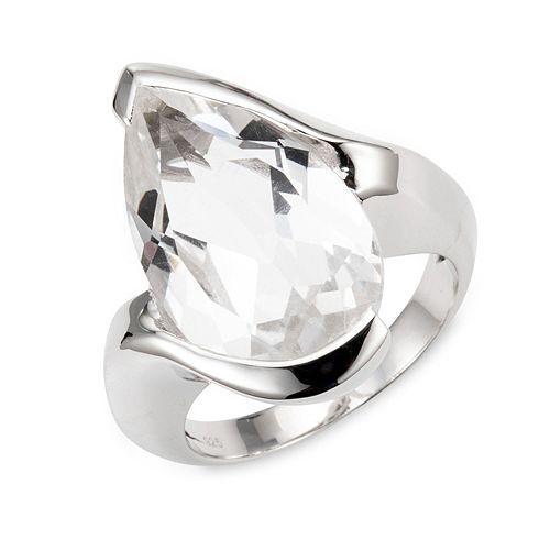 Bergkristall Ring ca. 8,00ct Tropfenschliff Silber 925