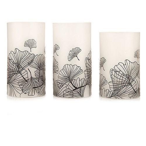ELAMBIA 3 LED-Kerzen Ginkgoblätter-Print 5h-Timerfunktion Höhe 12,5cm & 15cm