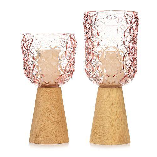 ELAMBIA 2 Glaskerzenhalter Holzsockel inkl. Votivkerzen Höhe 24,5 & 29,5cm