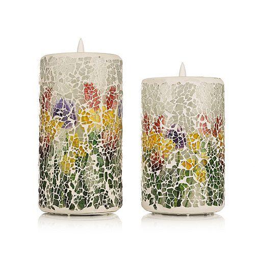 Style your home 2 LED-Kerzen Tulpen-Mosaik Farbwechsel & Timer H. 12,5 & 15cm, Ø 8cm