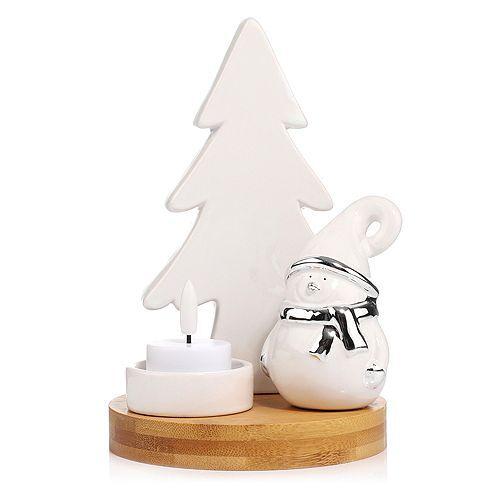 ELAMBIA LED-Teelicht im Holz-Kerzenhalter inkl. Keramikfigur Höhe 18,2cm, Ø 13,3cm