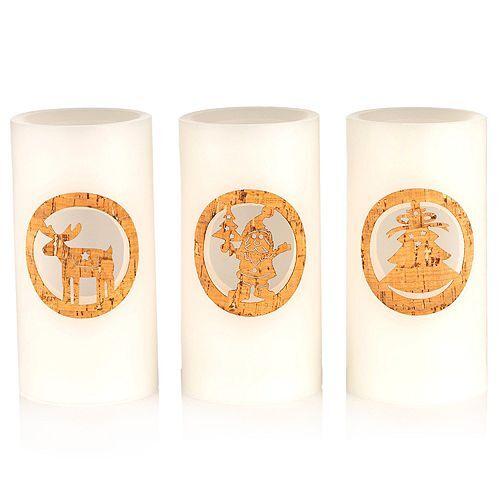ELAMBIA 3 LED-Kerzen Holzdekor 5h-Timerfunktion Höhe je ca. 15cm