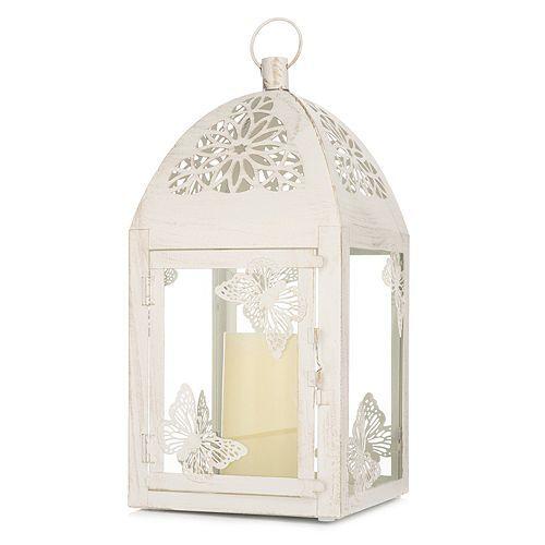 ELAMBIA LED-Kerze inkl. Glas-Laterne Vintage-Schmetterling Timer, 20x20x40cm