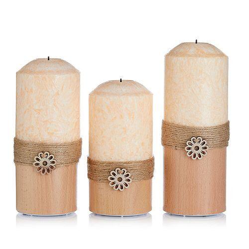 ELAMBIA 3 LED-Kerzen Kristallwachs Holz-Sockel Höhe 15, 17,5 & 19cm