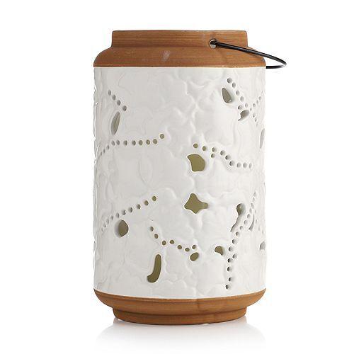 ELAMBIA LED-Kerze inkl. Keramik-Laterne Libellen Höhe 25,4cm, Ø 15,3cm