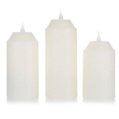 B-Ware ELAMBIA 3 LED-Kerzen 3D-Flamme Höhe 13, 15 & 18cm