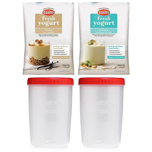 EASIYO 2x 1l Behälter und 2 Beutel Joghurtpulver für 2kg frischen Joghurt