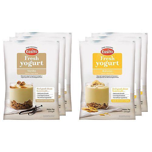 EASIYO Joghurtpulver 6 Beutel für 6kg Joghurt Banane & Vanille