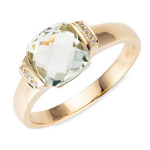 MEIN STEIN Ring Prasiolith 1,64ct 8 Brillanten 0,02ct Gold 585