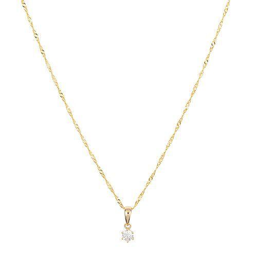 DIAMOUR Anhänger mit Kette 1 lupenreiner Diamant ca. 0,15ct Gold 585