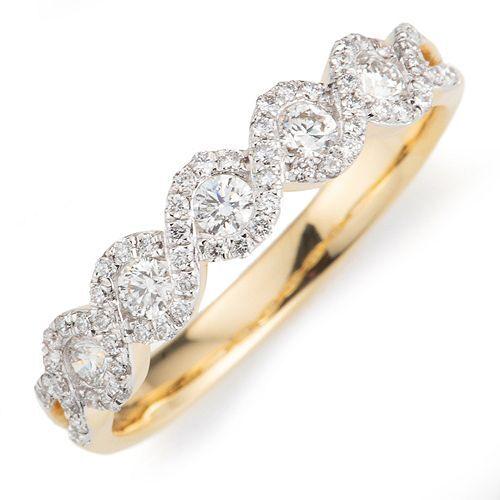Ring 65 Brillanten zus. ca. 0,50ct hfW/ lupenrein Gold 750