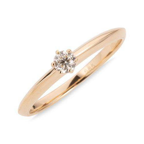 Ring 1 Brillant ca. 0,15ct get. Weiß/Lupenrein Gold 585