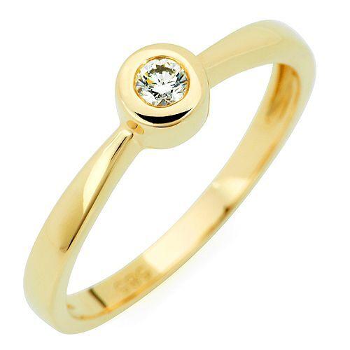 Ring 1 Brillant ca. 0,10ct get. Weiß/Lupenrein Gold 585