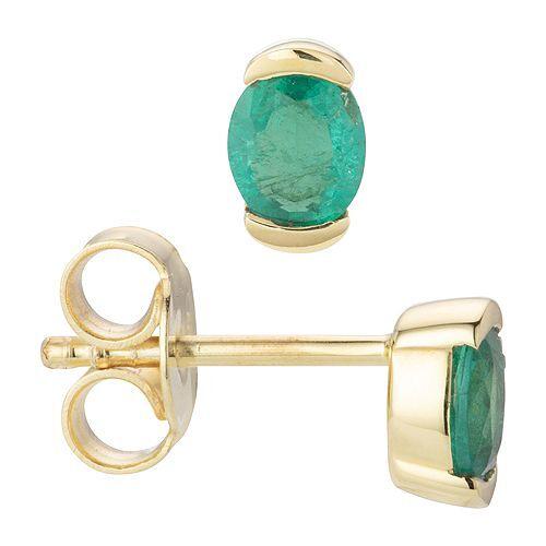 ROYELLE Ohrstecker Kolumbianischer Smaragd ca. 0,40ct Gold 585