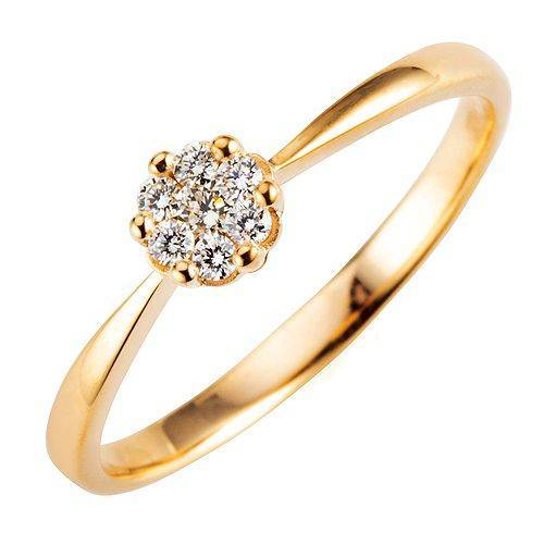 Mirage-Ring 7 Brillanten zus. ca. 0,15ct get. Weiß/lupenrein Gold 375