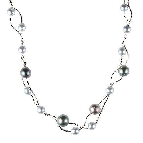 PERLEA Collier Tahitizuchtperlen Akoyazuchtperlen Silber rhodiniert