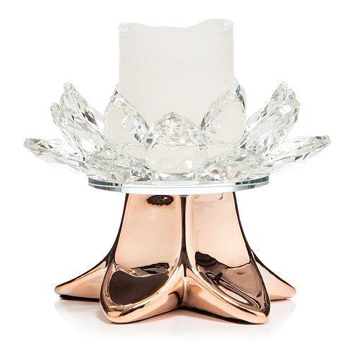 ELAMBIA Kristallglas- Kerzenhalter inkl. Votivkerze Timer, Höhe 12,5cm