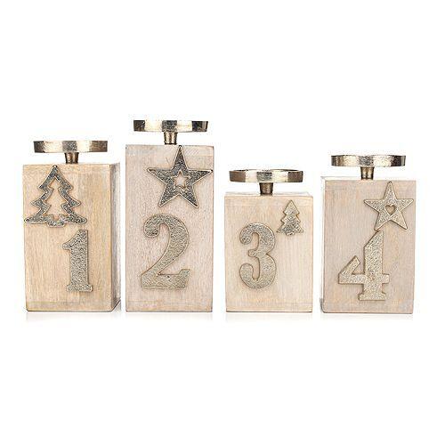 ELAMBIA Advent-Kerzenhalter für 4 Kerzen Holz & Metall 4tlg.