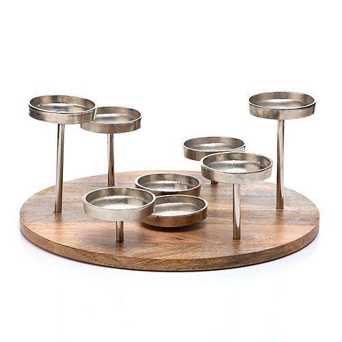 ELAMBIA Kerzenhalter für 8 Kerzen Holz & Metall Ø ca. 37cm