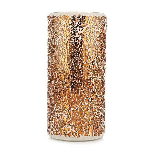 ELAMBIA LED-Kerze Mosaik 5h-Timerfunktion Höhe 20cm, Ø 9cm