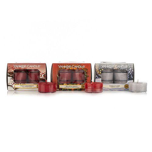 YANKEE CANDLE® Duftkerzen-Set 3x12 Teelichter & Teelichhalter Brenndauer 144-216h