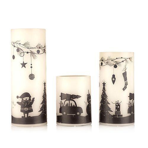 ELAMBIA 3 LED-Kerzen Scherenschnitt Weihnachten Timerfunktion