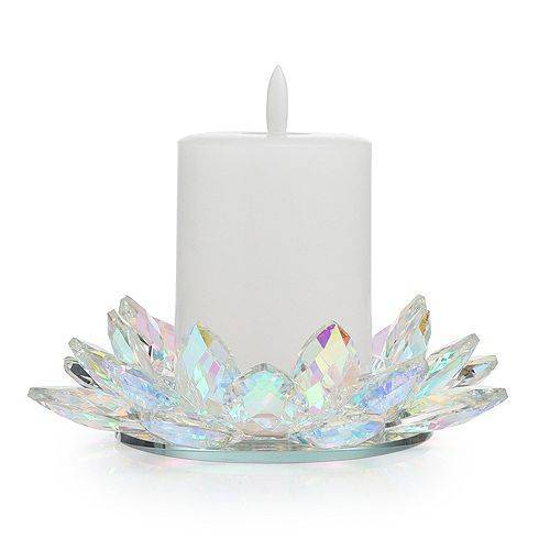ELAMBIA Kerzenhalter Kristall-Optik inkl. LED-Kerze Flamme Luma, Timer