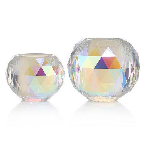 ELAMBIA Glaskerzenhalter Rainbow-Effekt inkl. LED-Kerzen 2tlg.