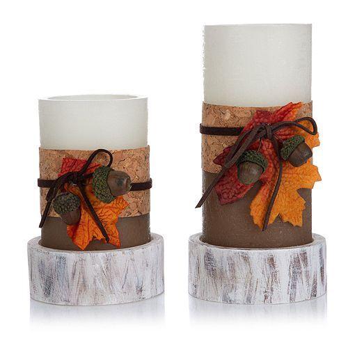 ELAMBIA 2 LED-Kerzen Tropfen-Flamme inkl. Herbstdeko Timer, Höhe 15 & 20cm