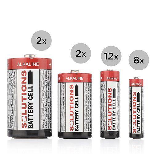 SOLUTIONS Batterien Starter-Kit 12x AA, 8x AAA, 2x Typ C, 2x Typ D 24tlg.