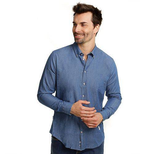 Bugatti Hemd 1/1-Arm Jeans-Look Knopfleiste