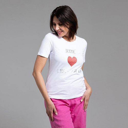 JETTE Shirt 1/2-Arm Folienprint uni