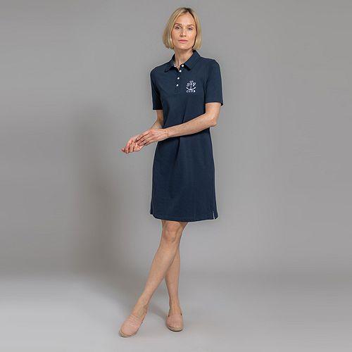 STRANDFEIN Kleid 1/2-Arm Polokragen Piqué