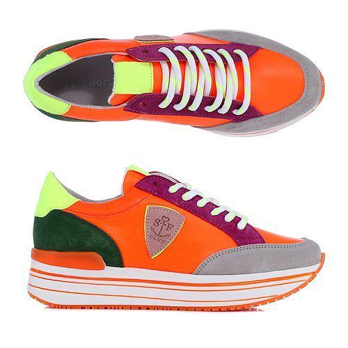 STRANDFEIN Damen-Sneaker echt Leder Neon-Details Plateau-Sohle