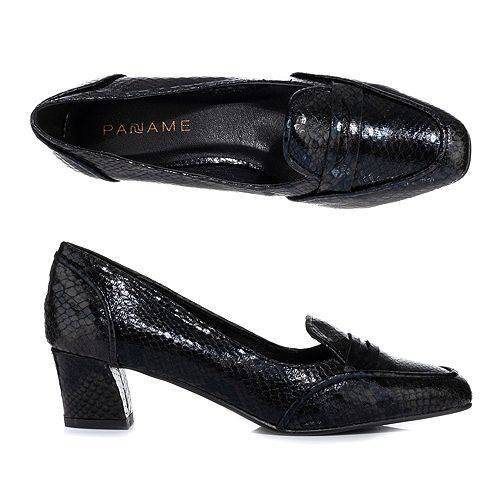 PANAME Loafer-Pumps Schlangen-Optik glänzend ca. 4,5cm Absatz
