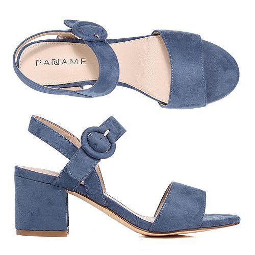 PANAME Sandalette Faux-Velours Fesselriemen Absatz ca. 6cm