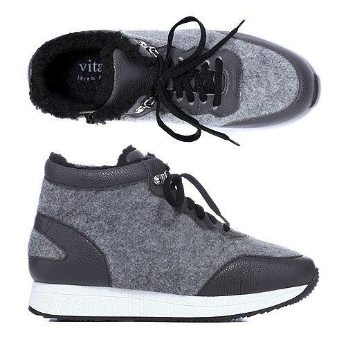 VITAFORM Damen-Hightop-Sneaker Textil/Leder Winterfilz Sneakersohle
