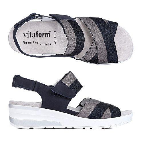 B-Ware VITAFORM Sandalette Nubukleder Glitzerband
