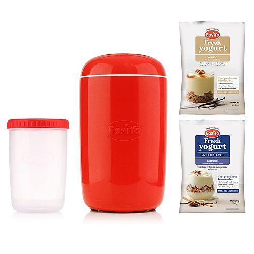 EASIYO Joghurtbereiter, rot mit 1l-Behälter & 2 Sorten für 2kg Joghurt