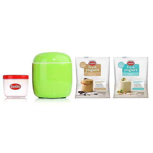 EASIYO Joghurtbereiter & Behälter für 500g Joghurt, 2 Beutel Cappuccino & Natur