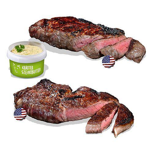 GOURMETFLEISCH 1x US-Rumpsteak 300g, 1x US- Rib-Eye 300g inkl. 1x Steakbutter