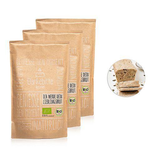 DANKEBITTE Bio-Brotbackmischung Sortenrein 3 Brote à 548-578g