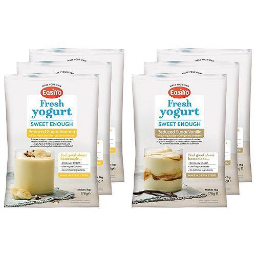 EASIYO Joghurtpulver 6 Beutel für 6kg Banane & Vanille zuckerreduziert