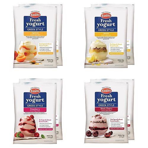 EASIYO Joghurtpulver Fruchtjoghurt 8 Beutel für 8kg Mix-Set, 4 Sorten