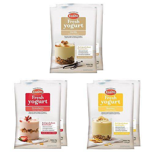 EASIYO Joghurtpulver 6 Beutel für 6kg Milchshake-Mix 3 Sorten