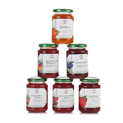FALLER KONFITÜREN Fruchtaufstrich zuckerreduziert 6 Gläser Inhalt 2.400g