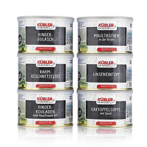 KÜBLER Konserven-Set Suppen, Eintöpfe & Fleischgerichte Inhalt 2.400g