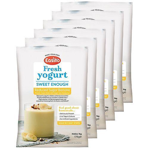 EASIYO Joghurtpulver 6 Beutel für 6kg Joghurt Banane zuckerred.
