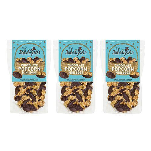 JOE & SEPH'S Salzkaramellpopcorn Milchschokoladeneier 3 Packungen à 180g Inhalt 540g